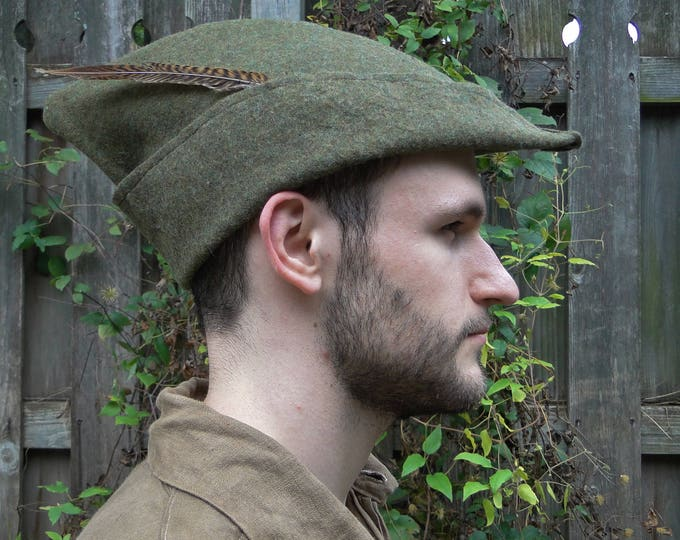 Medieval Robin Hood Hat, Woodsman - Wool 4 Colors Available - P (LB)