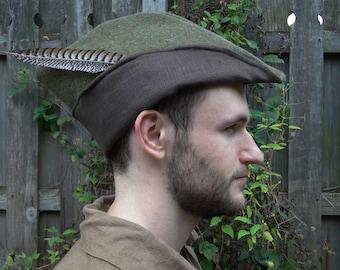 Medieval Robin Hood Hat, Woodsman, Green Wool, Brown Linen Lining - Deluxe