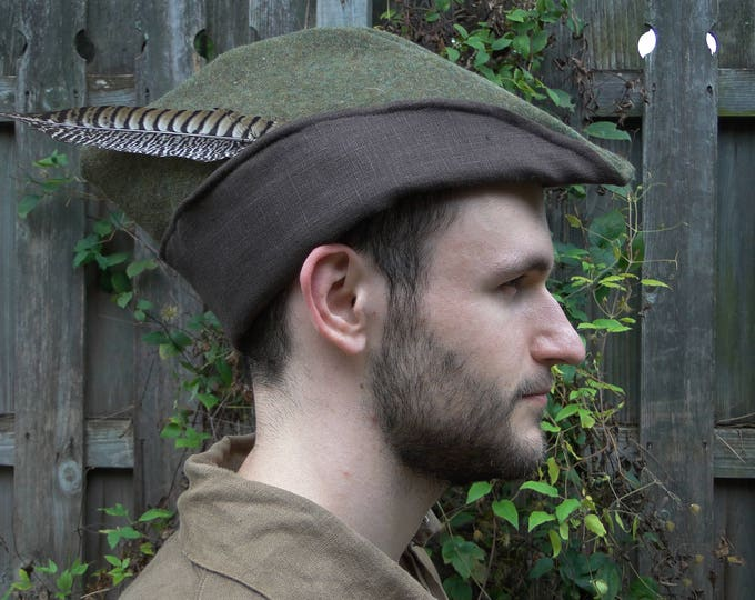 Medieval Robin Hood Hat, Woodsman, Wool With Linen Lining - Deluxe - Multiple Colors Available