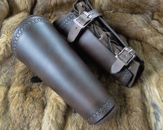 Renaissance Leather Bracers - Viking Arm Guards, Medieval Armor Set Mens
