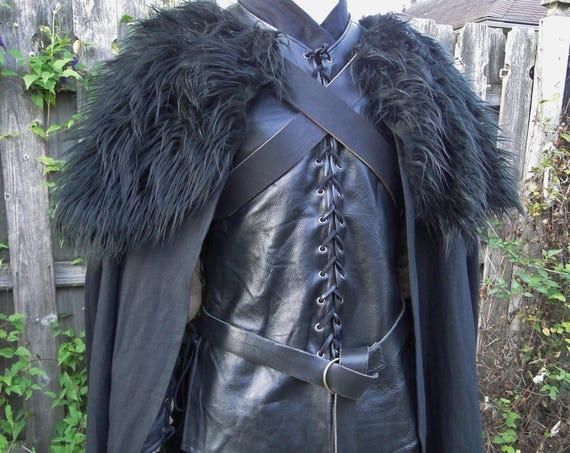 Black Cloak W/ Fur Mantle, Adjustable Leather Chest Straps Deluxe - (LB)