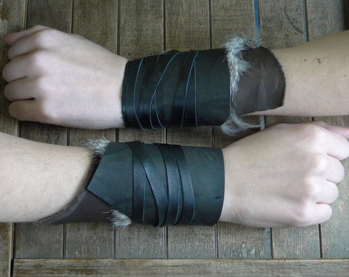 Leather Cuffs - Warrior Viking Tribal Larp Costume Cosplay - Pair #5d