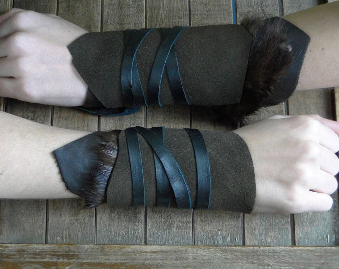 Leather Cuffs - Warrior Viking Tribal Larp Costume Cosplay - Pair #10a