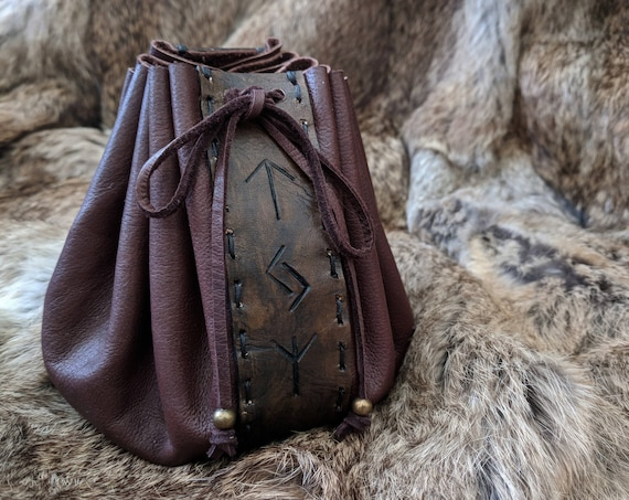 Leather Rune Pouch Bag, Customizable Choose Your Rune Inscription - /F/ (AB)