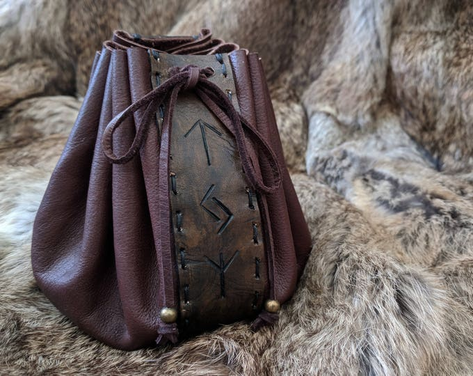 Leather Rune Pouch Bag, Customizable Choose Your Rune Inscription - Leather Pouch Only