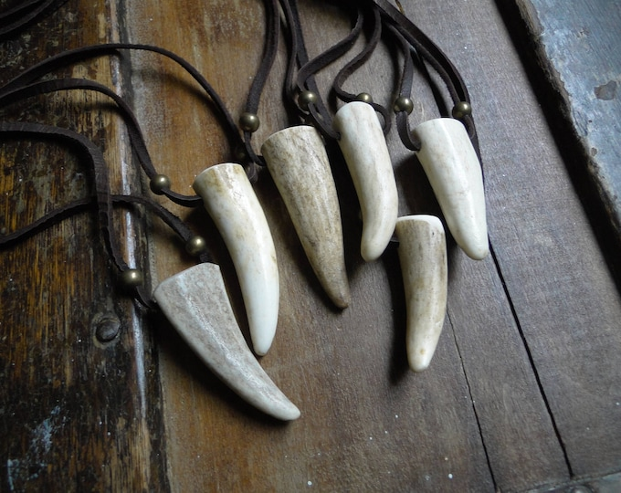 Deer Antler Necklace, Antler Point Pendant, Real Genuine, Deerskin Leather Cord & Brass Beads
