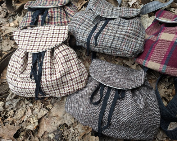 Celtic Highland Purse, Wool Sporran Medieval Renaissance Bag, Cross Body - Choose Your Plaid Tartan - /F/ (LB)