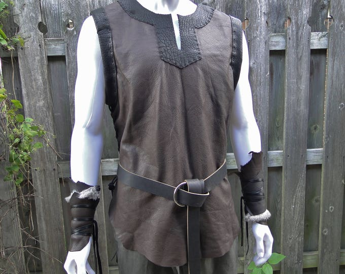Leather Viking Tunic, Medieval Leather Shirt, Norse Dane Mens - PL (AB)