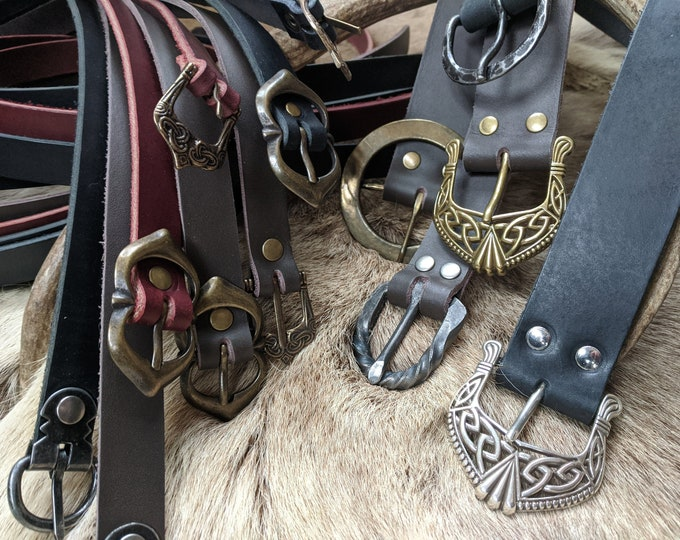 Custom Leather Belts, Celtic Medieval Renaissance Viking Belts - Choose Buckle, Size & Color /F/ (AB)