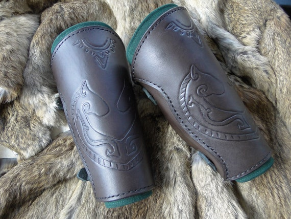 Celtic Horse Leather Bracers - Arm Guards, Medieval, Men's Renaissance Armor - Deluxe Set - /P/ (AB)