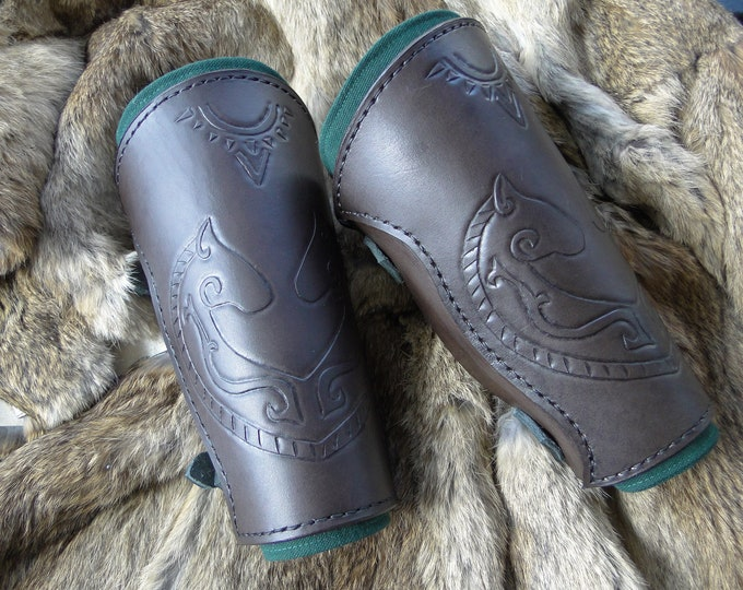 Celtic Horse Leather Bracers - Arm Guards, Medieval, Men's Renaissance Armor - Deluxe Set
