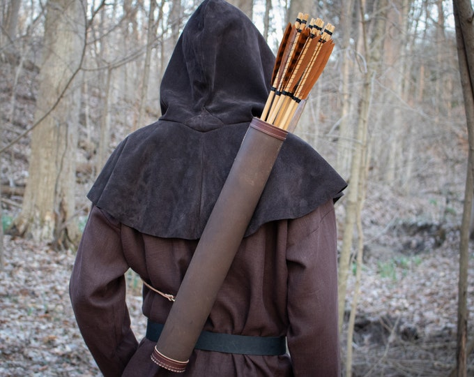 Medieval Quiver, Archery Back Arrow Quiver, Black or Brown Leather (AB)