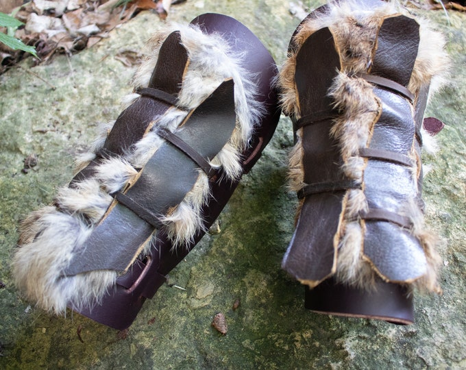 Fur Leather Bracers, Viking Woven Leather Armor, Medieval - THE DANE