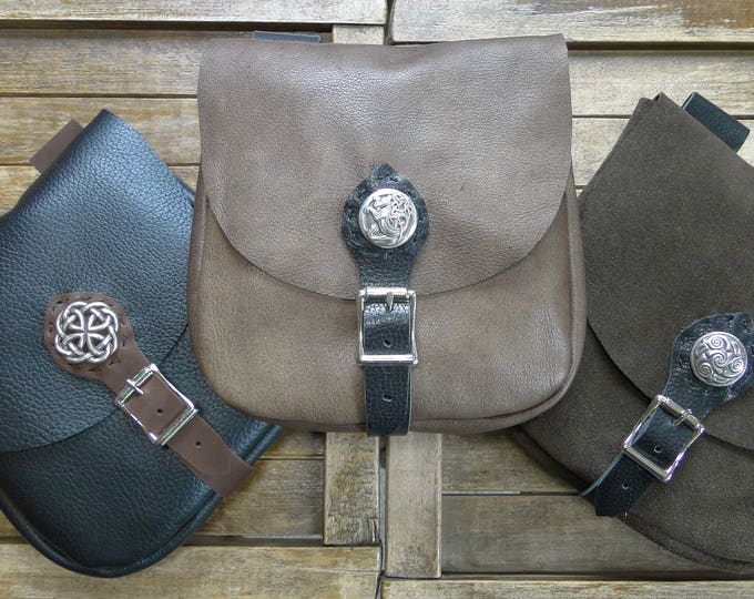 Medieval Leather Pouch, Renaissance Bag, Celtic w/ Buckle Closure, Large The Merchant - /F/ (AB)