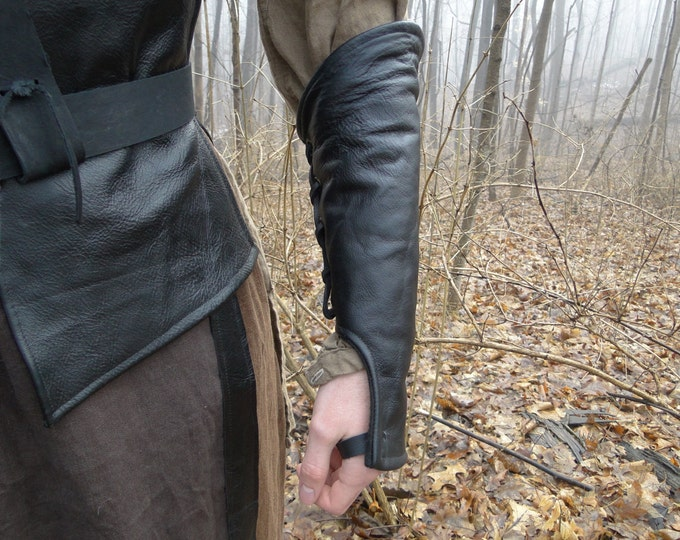 Leather Lace up Ranger Under Bracers / Gloves Pair - Mens, Choose Your Size - /F/ (AB)