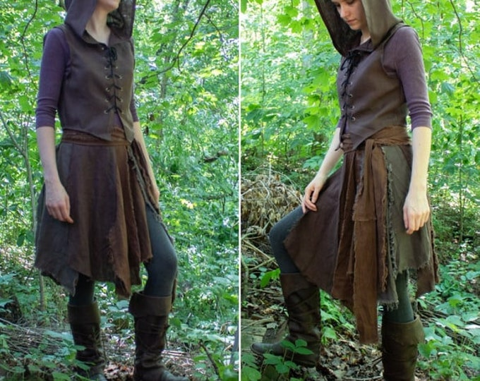 Woodland Elf Costume, Wrap Skirt & Fantasy Hoodie, Bodice - Brown /P/ (LB)