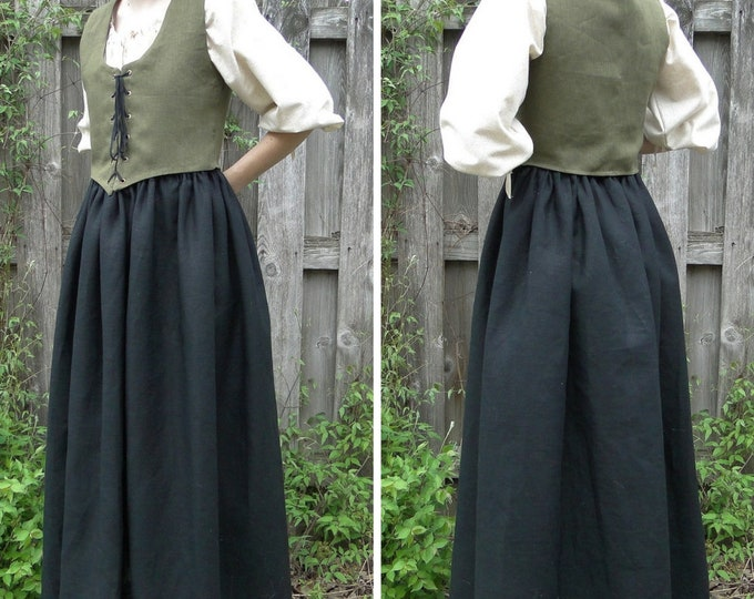 Renaissance Fair Dress 3 Piece Outfit SET Chemise, Skirt, Reversible Bodice - Womens Size S, M, L, XL - 6 Colors