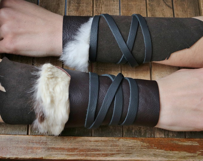 Leather Cuffs - Warrior Viking Tribal Larp Costume Cosplay - Pair #23c