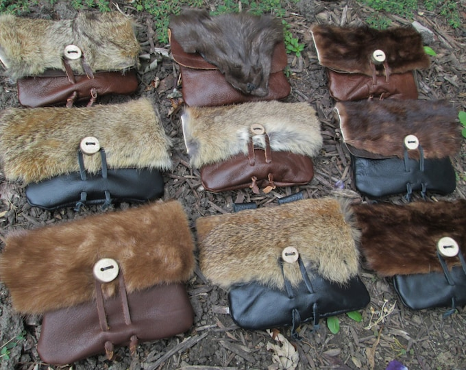Viking Fur Pouch, Choose Your Bag! Leather Belt Bag, Medieval, Renaissance, Medium - The VIKING - /F/ (AB)