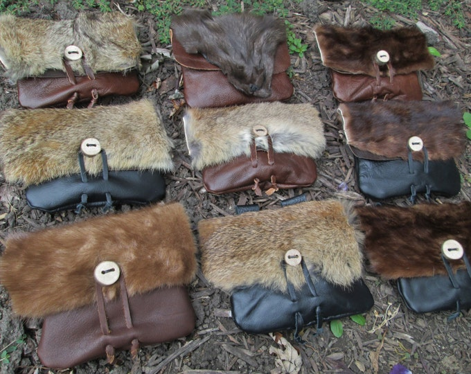 1 Viking Fur Pouch, Choose Your Bag! Leather Belt Bag, Medieval, Renaissance, Medium - The VIKING - /F/ (AB)