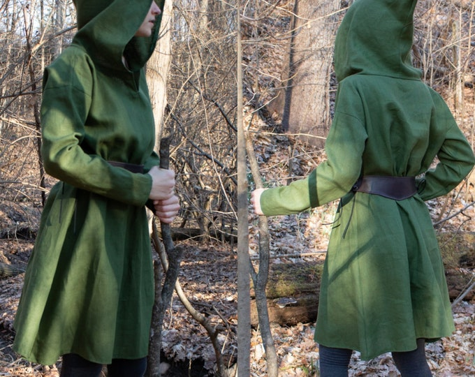 Elven Hooded Tunic, Womens Long Sleeve Top /F/ (LB)