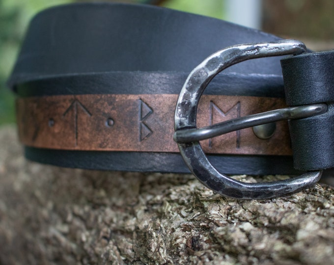 Viking Rune Belt Leather, Forged Buckle, Custom Made To Your Size