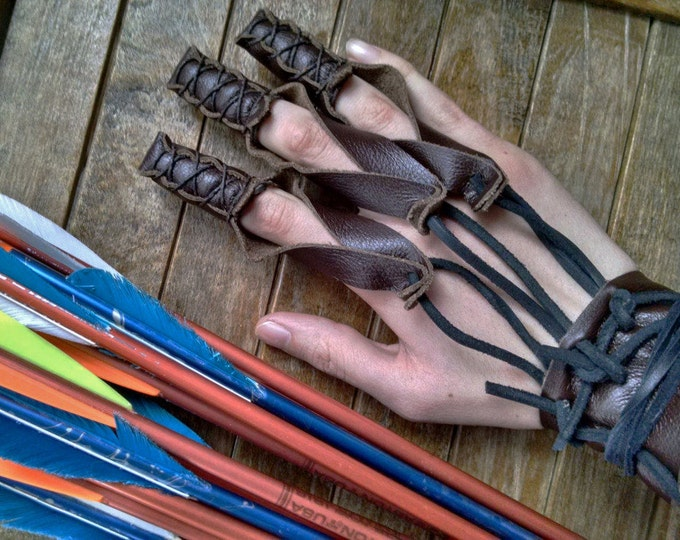 Archery Glove Shooting Leather Draw Hand Glove - Renaissance Medieval Ranger Rustic - Choose Your Size & Color - /F/ (AB)