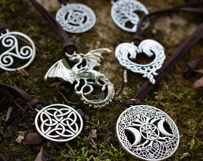 Celtic Pendant Necklace - Medieval Fantasy Jewelry Choose Your Style /F/ (AB)