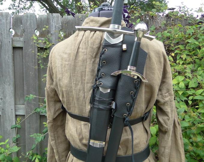 Leather Back Double Sword Strap - Medieval Renaissance Ranger Assassin - Men's