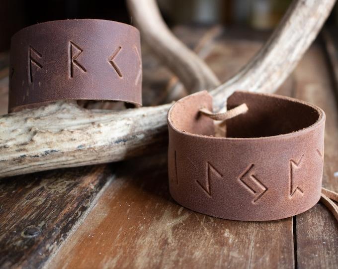 Rune Leather Cuff, Viking Wristband Bracelet, Nordic Pagan Gift, Personalizable