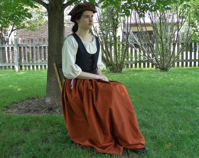 Renaissance Dress SET 3 Piece Costume: Bodice, Chemise & Skirt - Womens Size S, M, L, XL - 6 Colors, Reversible Bodice!