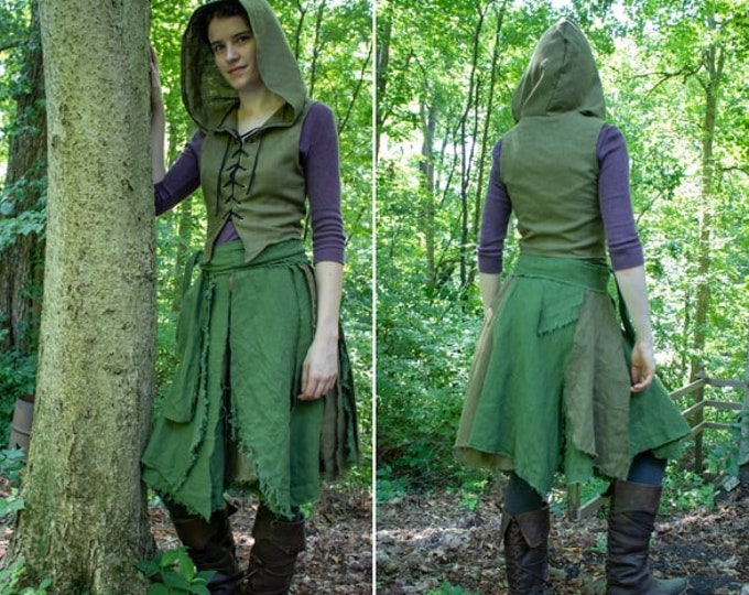Elven Fairy Clothing, Set Wrap Skirt & Hooded Vest, Fantasy Forest Greens - /P/ (LB)