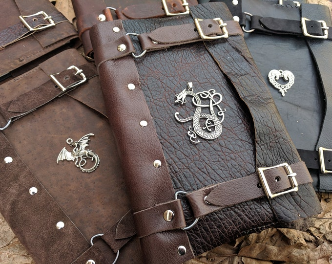 Celtic Leather Journals, Medieval Books - Refillable, Hardback Journal Included - Choose Your Color & Charm - PFL (AB)