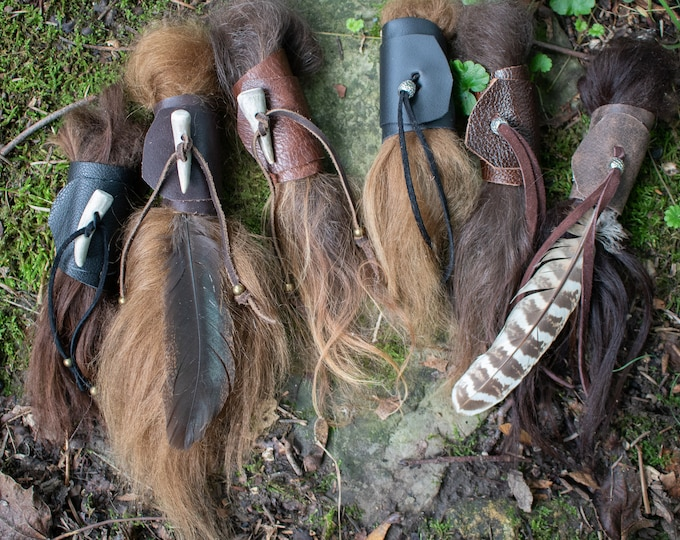 Festival Leather Hair Wrap, Pony Tail Tie - Medieval Viking Celtic Hair Accessory /F/ (AB)