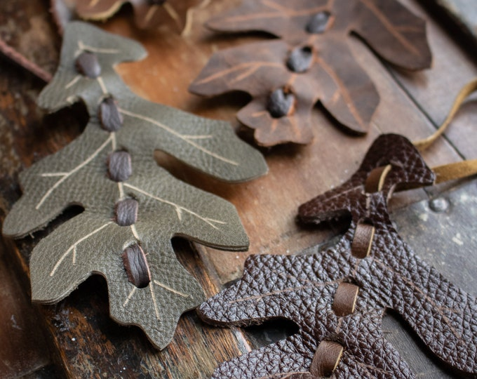 Leather Leaf Ornaments, Oak Leaves - Mixed Browns & Greens - SET of 4 - /F/ (AB)