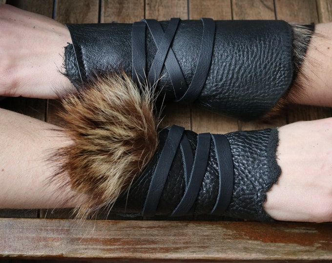 Leather Cuffs - Warrior Viking Tribal Larp Costume Cosplay - Pair #17c