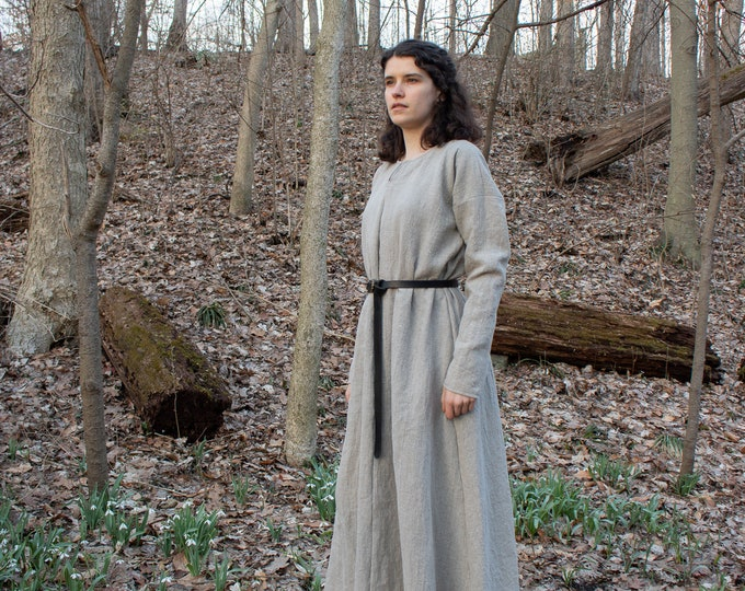 Viking Full Length Linen Dress, Serk, Medieval, Long Sleeve /P/ (LB)
