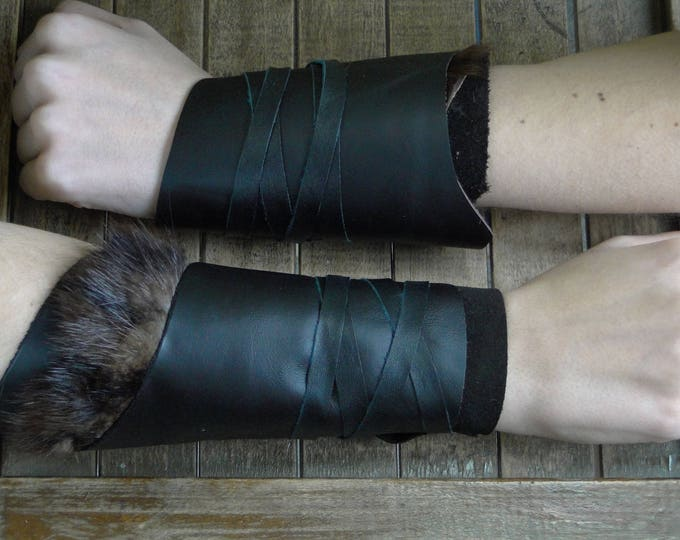 Leather Cuffs - Warrior Viking Tribal Larp Costume Cosplay - Pair #11d