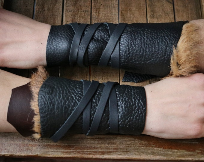 Leather Cuffs - Warrior Viking Tribal Larp Costume Cosplay - Pair #16d