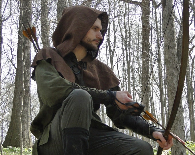 Medieval Hood Linen Capelet - Robin Hood, Renaissance, Archer Ranger - 4 Color Choices!