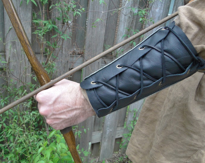 Archery Arm Guard, Leather Bracer Lace Up, Medieval Renaissance Style - WOODSMAN