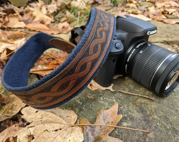 Celtic Camera Straps, Custom Leather Photographer Neck Strap, Moons, Runes, Celtic Knots