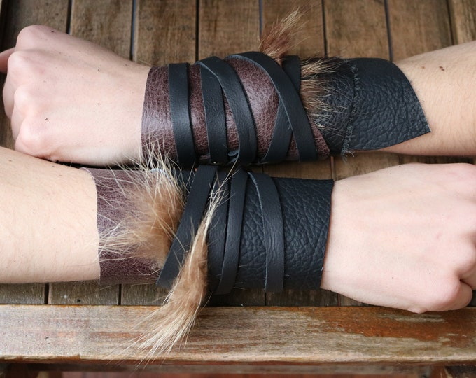 Leather Cuffs - Warrior Viking Tribal Larp Costume Cosplay - Pair #25d / F/ (AB)