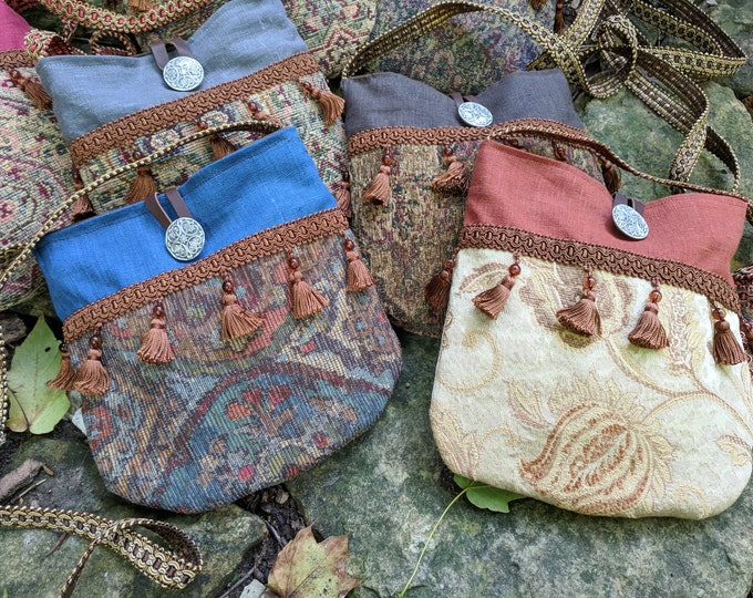 Gypsy Renaissance Purse, Medieval Fair Tapestry Bag, Cross Body - Choose Your Color - FC (LB)