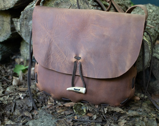 Medieval Woodland Adventure Bag, Rustic Leather Satchel - THE COURIER