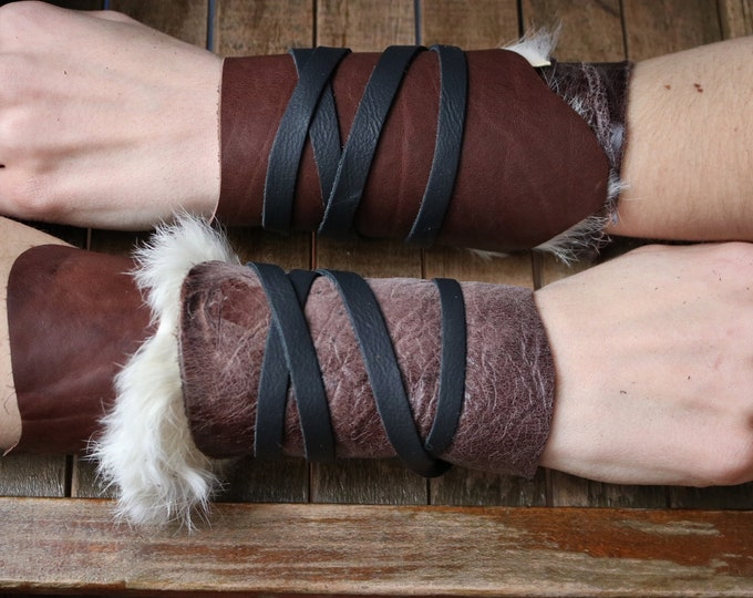 Leather Cuffs - Warrior Viking Tribal Larp Costume Cosplay - Pair #4d