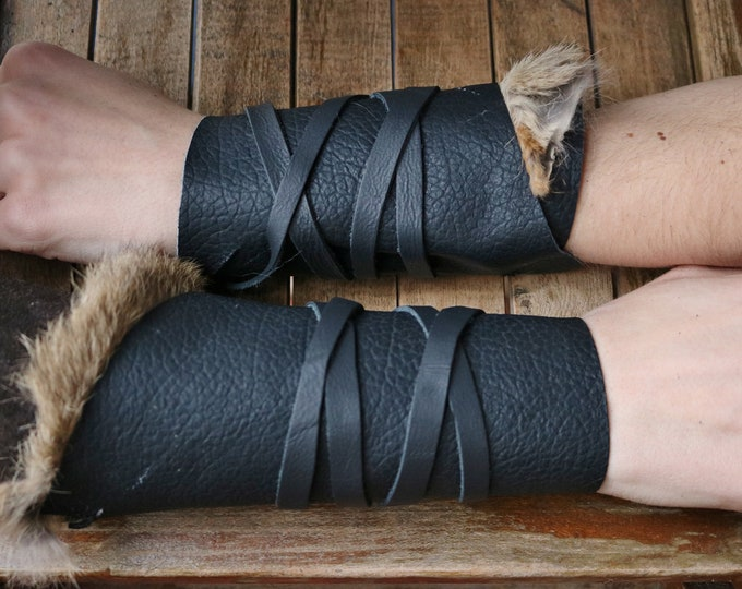 Leather Cuffs - Warrior Viking Tribal Larp Costume Cosplay - Pair #3a