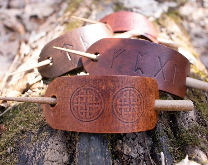 Celtic Rune Hair Stick, Slide, Barrette - Medieval Fantasy Hair Accessory /F/ (AB)