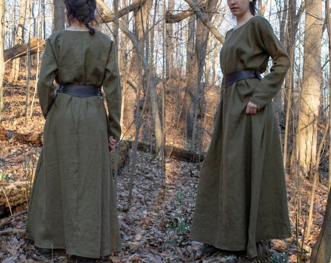 Medieval Linen Dress, Women's Full Length, Long Sleeve /P/ (LB)