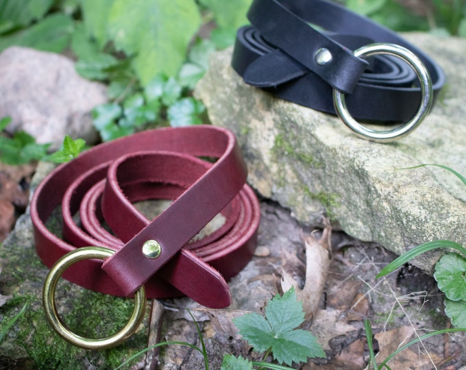 "Medieval Leather Ring Belts, 3/4"" wide x 60"" Long - Renaissance, LARP - Several Color Options FCS (AB)"